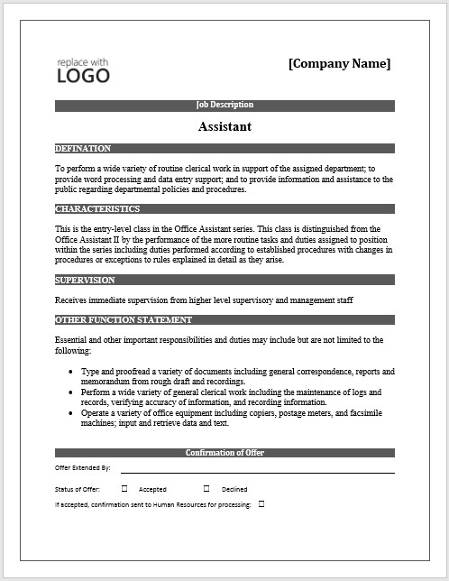 Job Posting Template Word 11 Elements Of A Job Description form Small Business