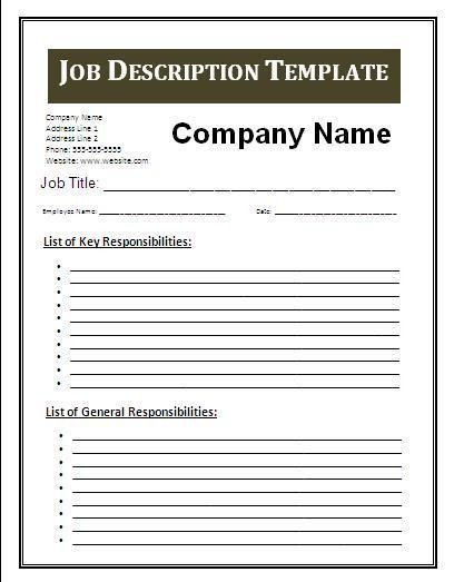 Job Posting Template Word 3 Job Description Template