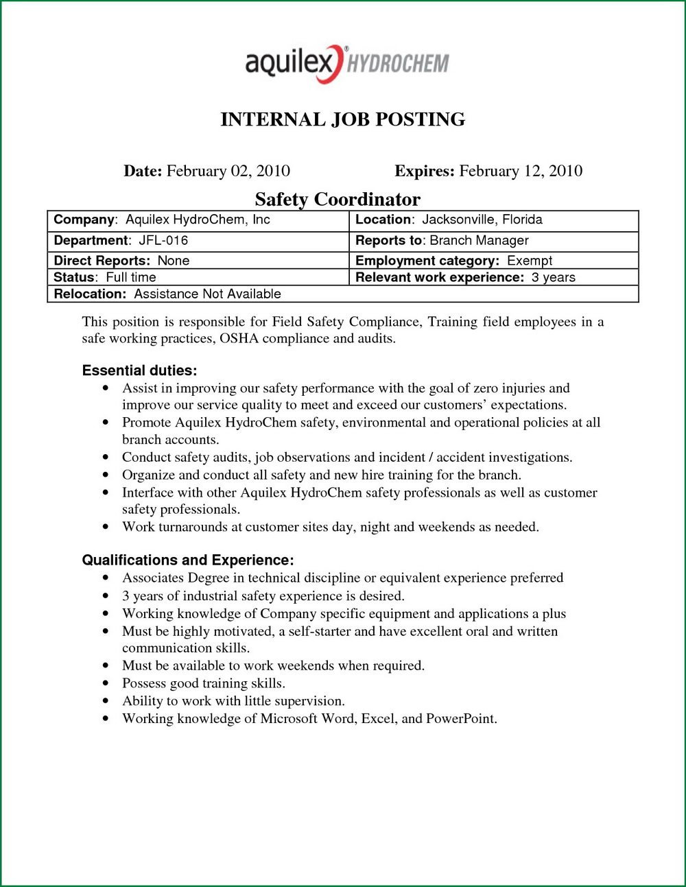 Job Posting Template Word Bureau Internal Revenue forms 0605 Templates