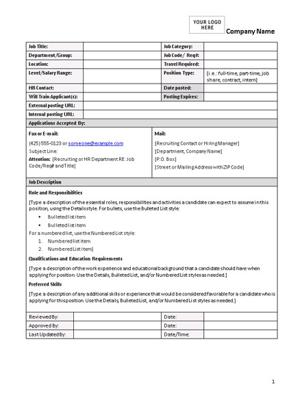 Job Posting Template Word Job Description form
