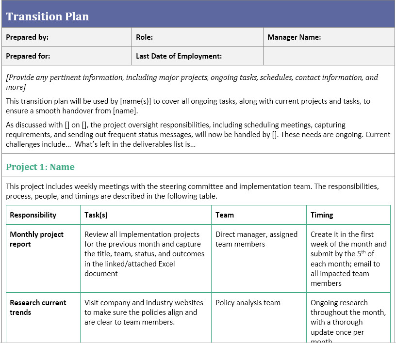 Job Transition Plan Template Transition Plan Template for when You Ve Resigned
