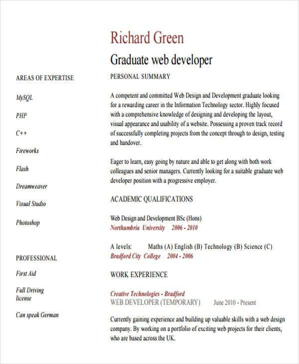 Junior Web Developer Resume 10 Web Developer Resume Templates Pdf Doc