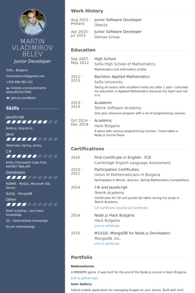 Junior Web Developer Resume Junior software Developer Resume