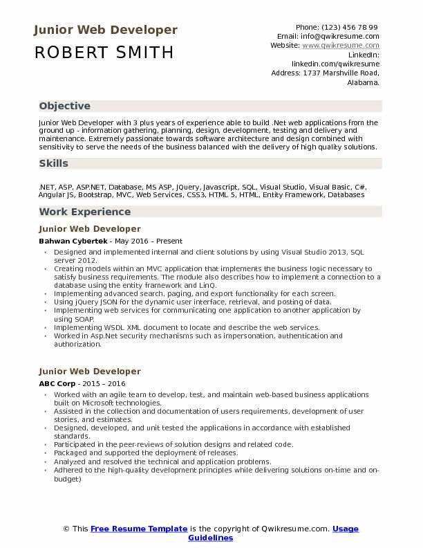 Junior Web Developer Resume Junior Web Developer Resume Samples