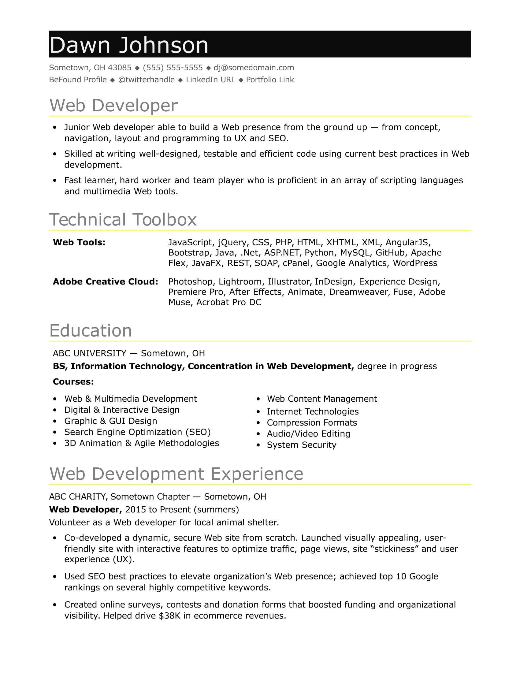 Junior Web Developer Resume Sample Resume for An Entry Level It Developer