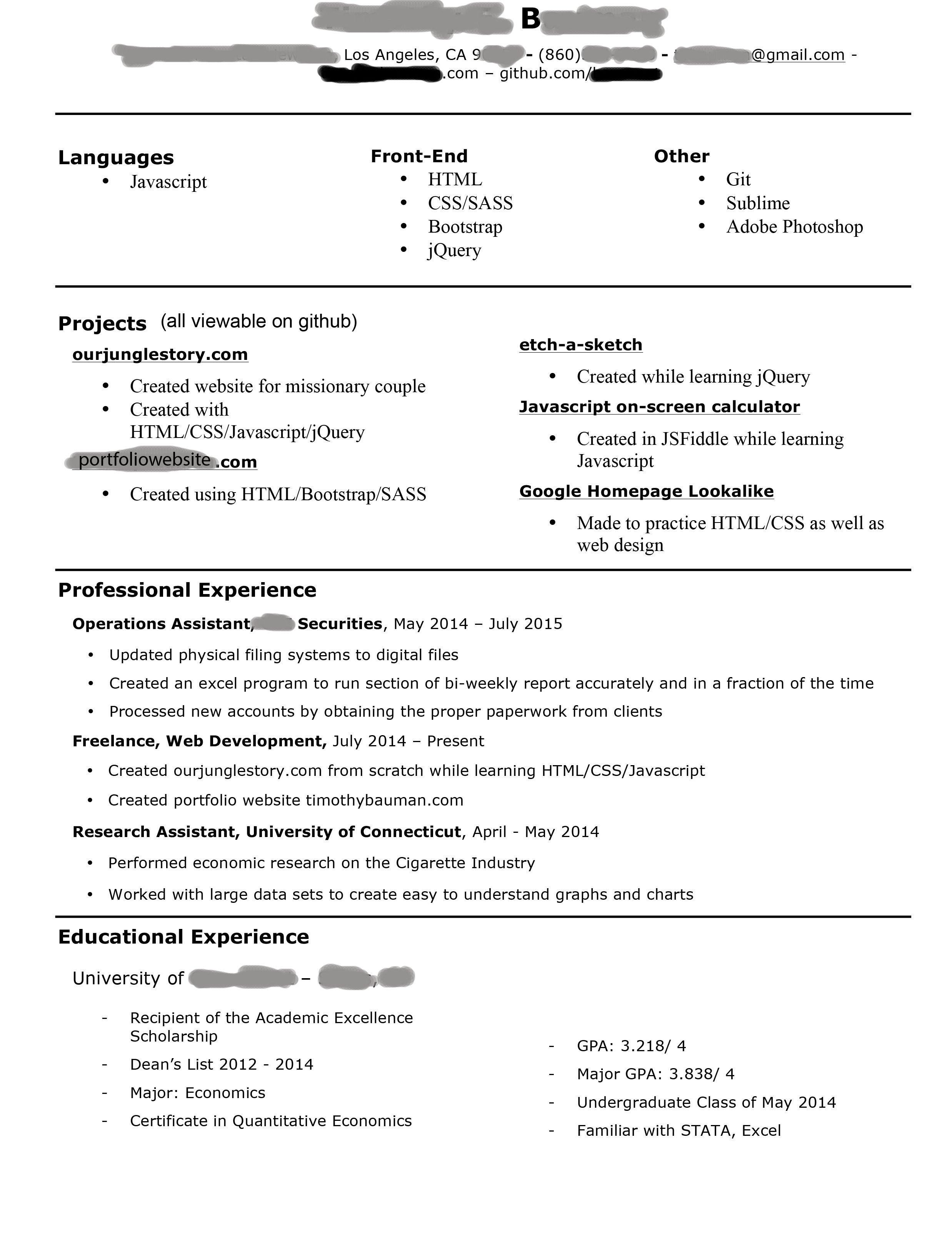 Junior Web Developer Resume Starting to Look for Jobs as A Jr Front End Web Developer