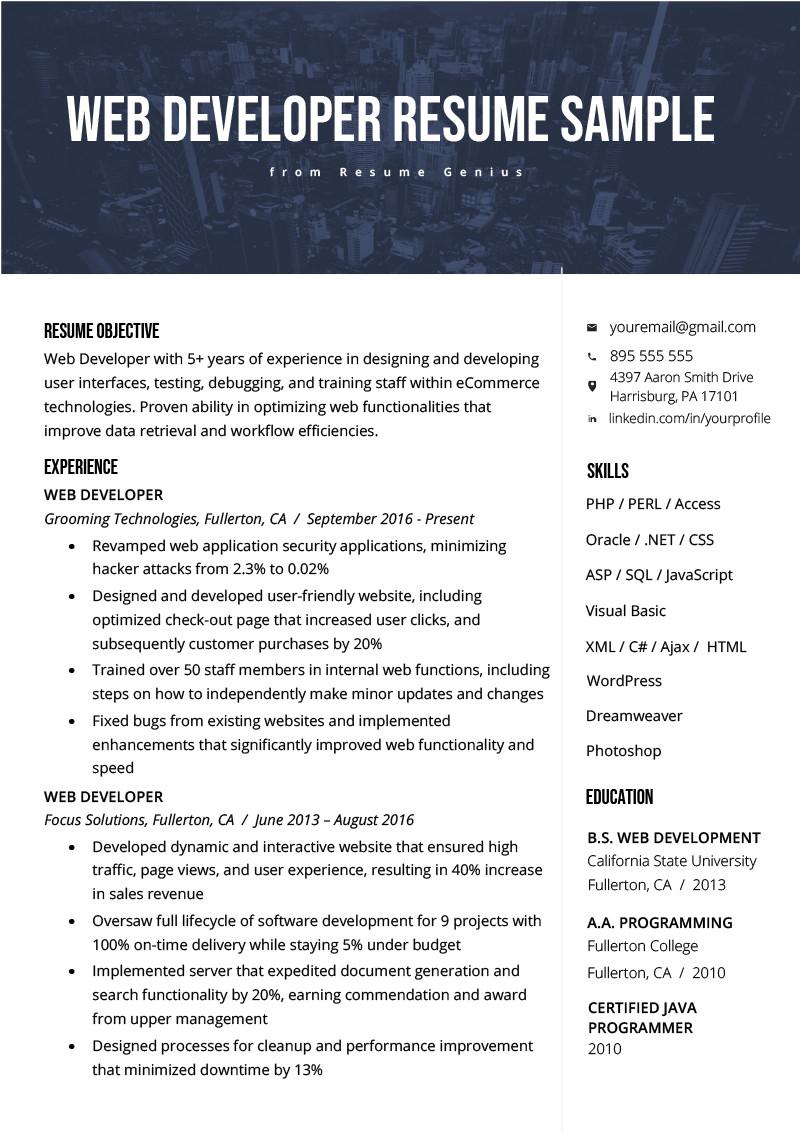Junior Web Developer Resume Web Developer Resume Sample & Writing Tips