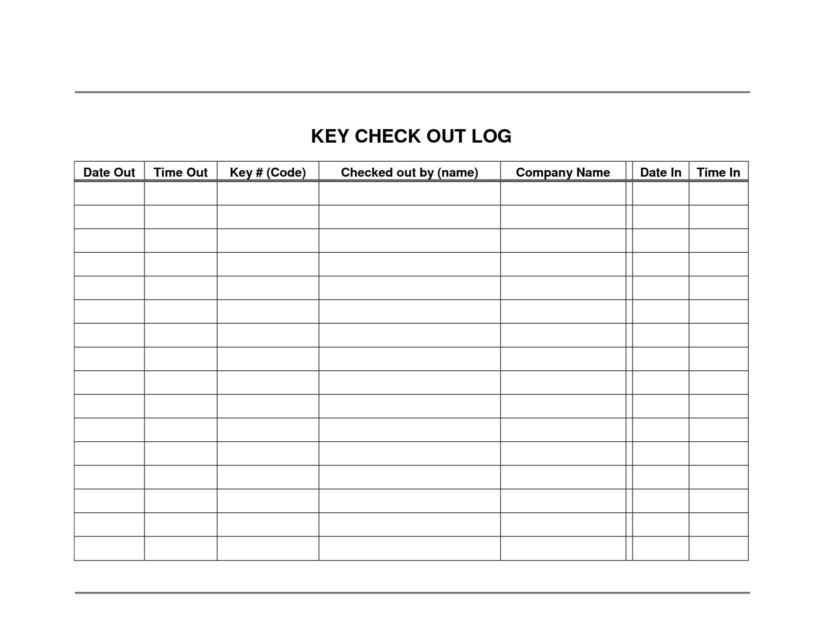 Key Sign Out Sheet 30 Of Key Log Template Excel
