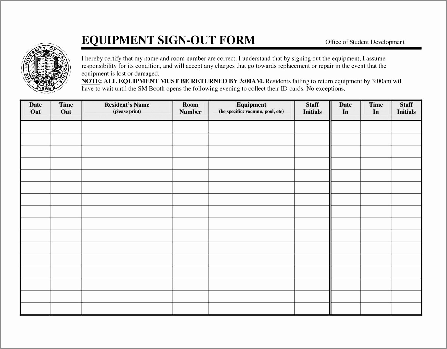 Key Sign Out Sheet 9 Key Sign Out form Template Oiryx