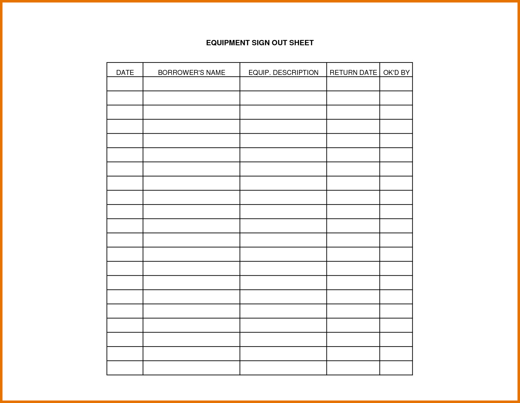 Key Sign Out Sheet Equipment Sign Out Sheet Template