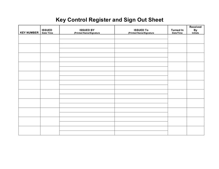 Key Sign Out Sheet Key Control Register and Sign Out Sheet In Word and Pdf