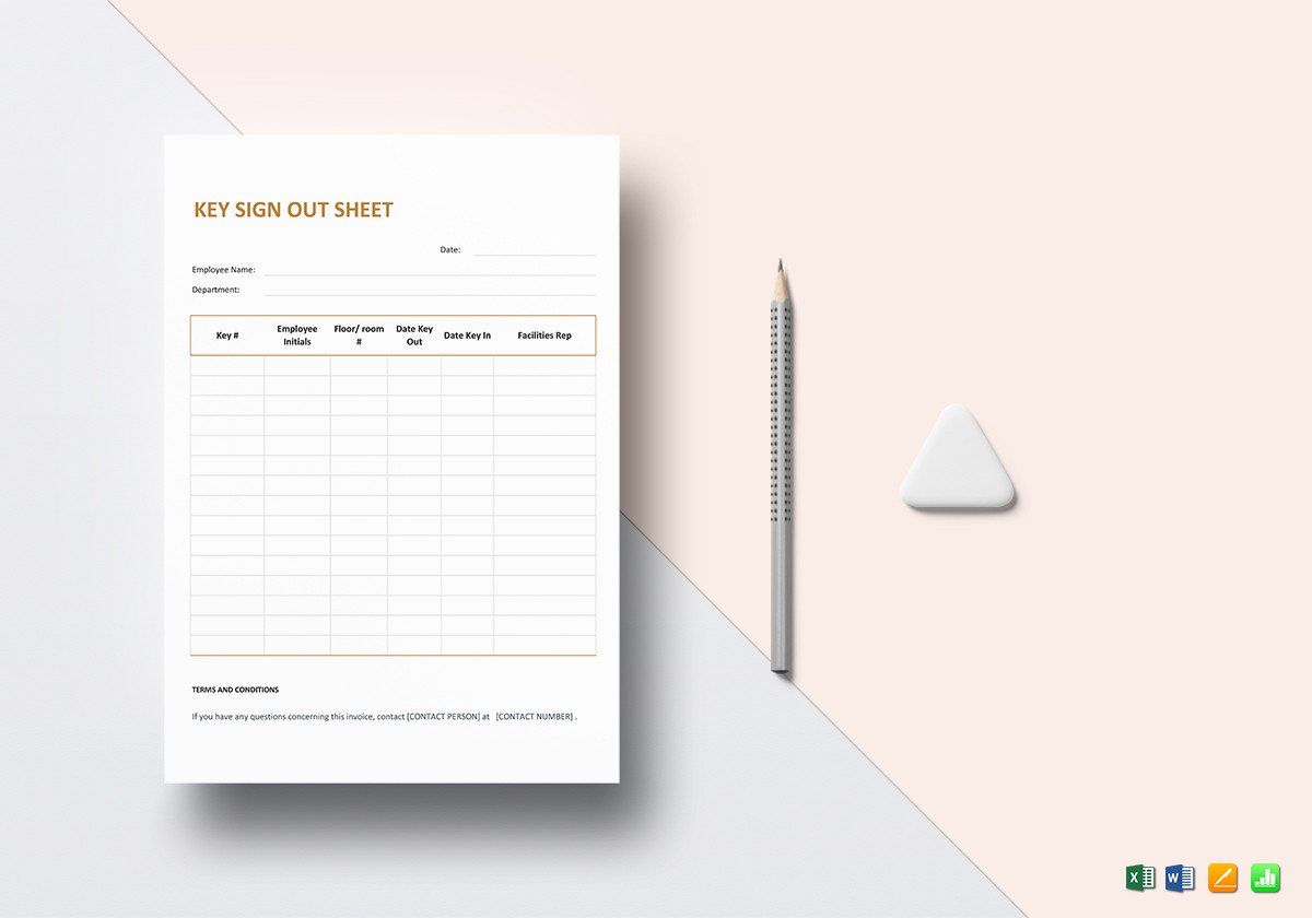 Key Sign Out Sheet Key Sign Out Sheet Template In Word Excel Apple Pages