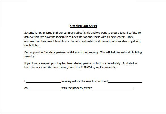 Key Sign Out Sheet Sign Out Sheet Template 14 Free Word Pdf Documents