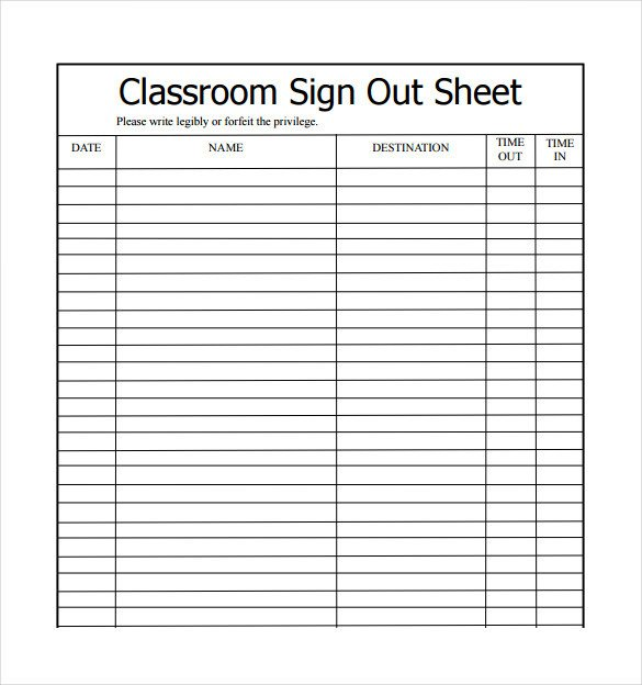 Key Sign Out Sheet Sign Out Sheets