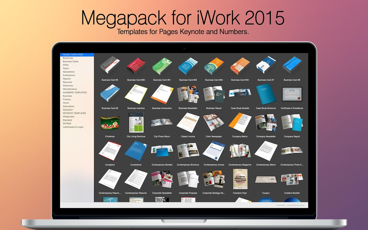 Keynote Templates for Mac Megapack for Iwork 2015 Keynote Numbers Pages Templates