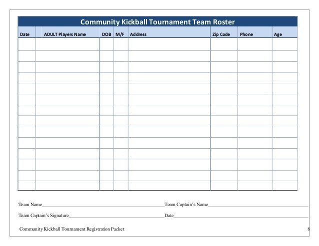 Kickball Roster Template Dayton Kickball tournament 2015 Registration Packet