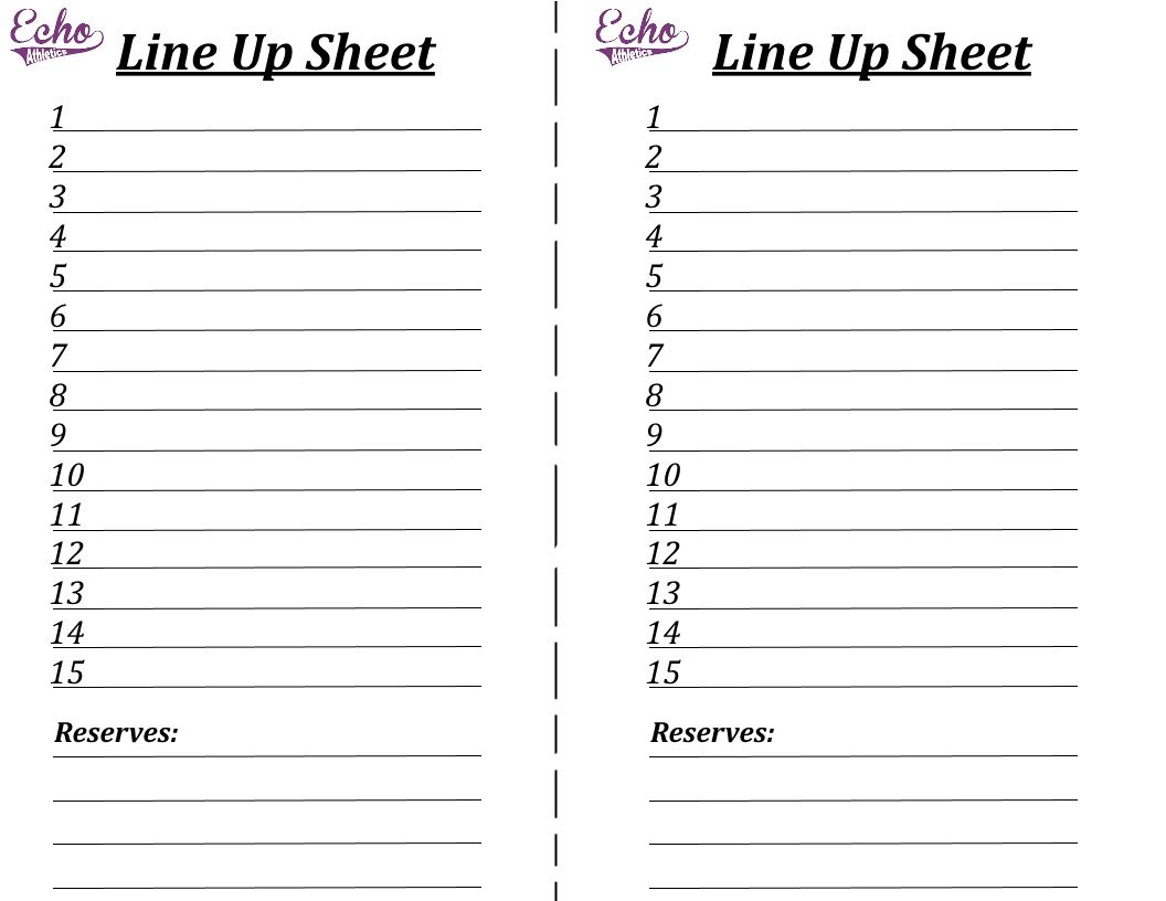 Kickball Roster Template Register Line Here – Echo athletics