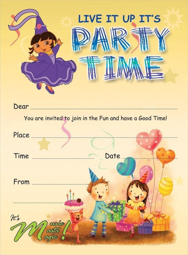 Kids Birthday Invitation Template 19 Kids Party Invitation Designs & Templates Psd Ai