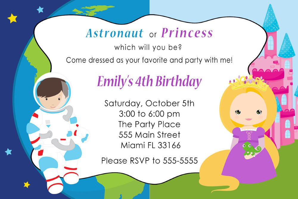 Kids Birthday Invitation Template 30 astronaut Princess Invitation Cards Kids Birthday Party