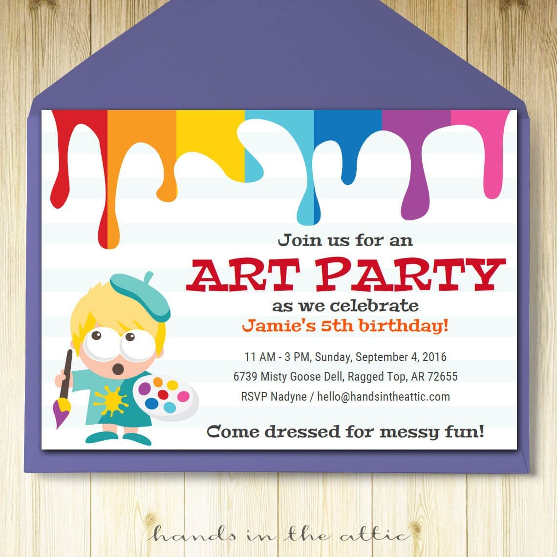 Kids Birthday Invitation Template Art Party Invitation Card Template Printable Kids Painting