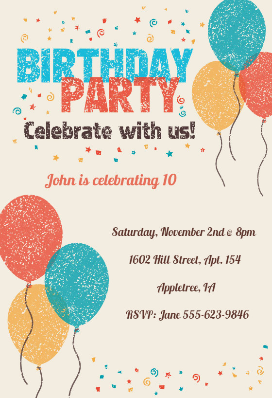 Kids Birthday Invitation Template Celebrate with Us Birthday Invitation Template Free