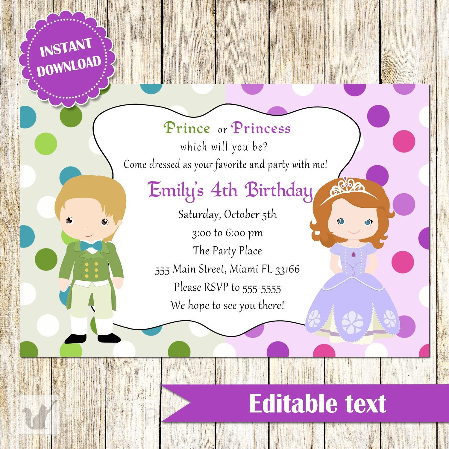 Kids Birthday Invitation Template Childrens Birthday Party Invites toddler Birthday Party