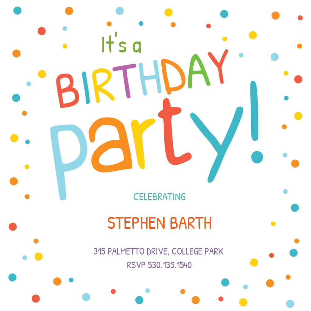 Kids Birthday Invitation Template Confetti Dots Border Birthday Invitation Template Free