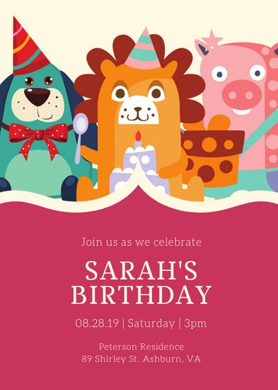 Kids Birthday Invitation Template Customize 2 892 Kids Party Invitation Templates Online