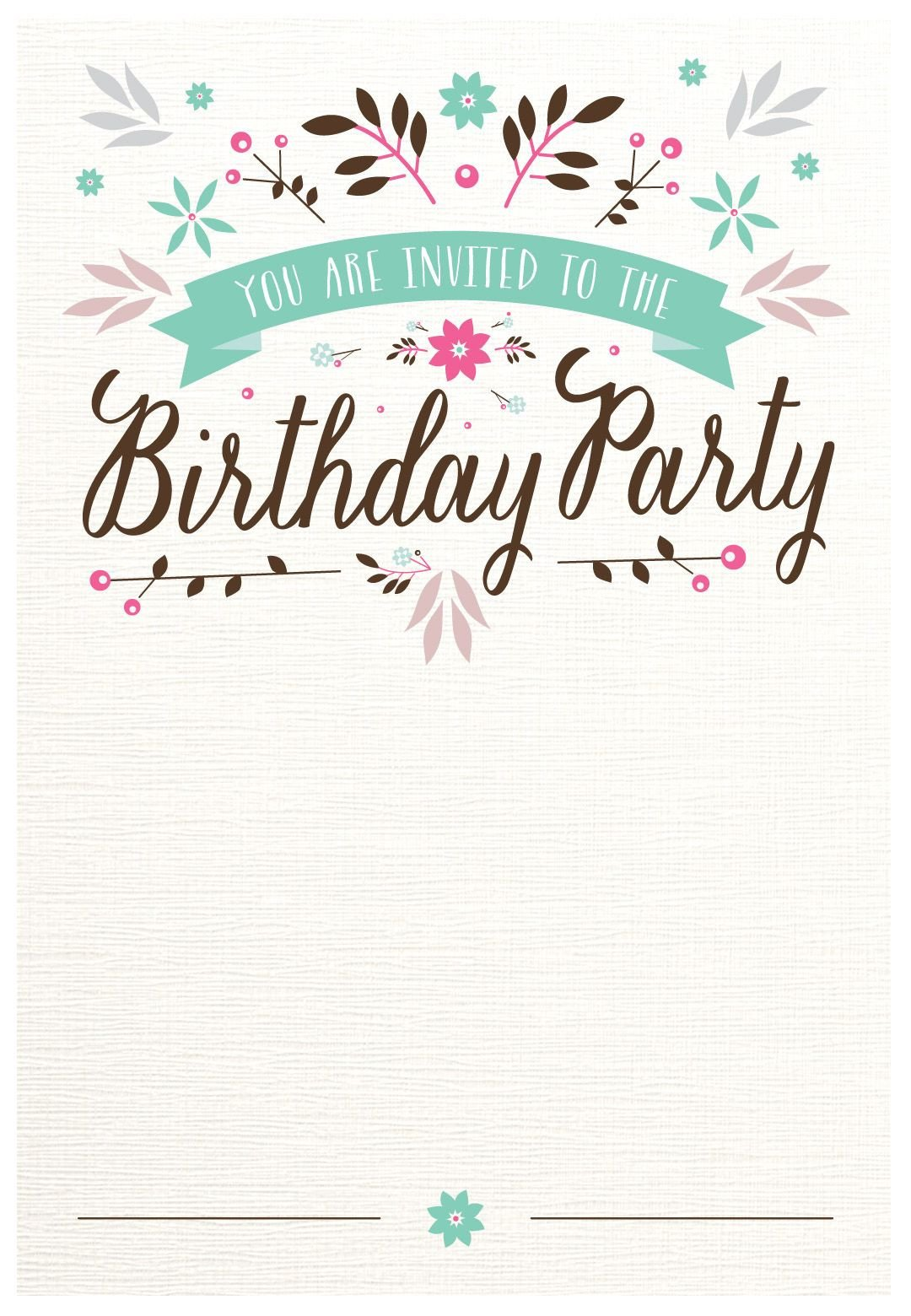 Kids Birthday Invitation Template Flat Floral Free Printable Birthday Invitation Template