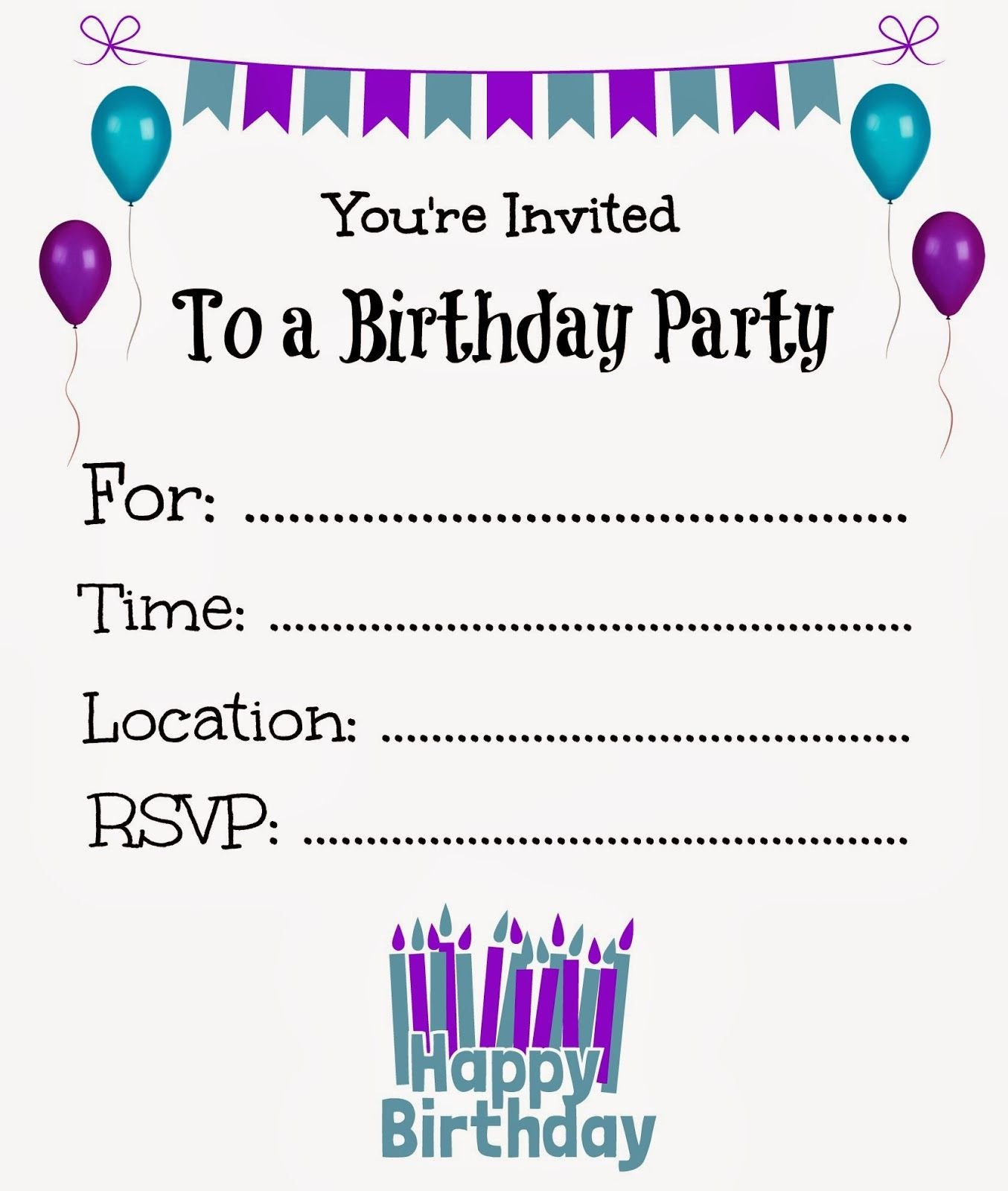 Kids Birthday Invitation Template Free Printable Birthday Invitations for Kids
