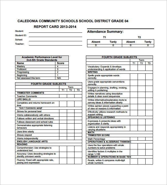 Kindergarten Report Card Template 27 Progress Report Card Templates Google Doc Pdf Psd