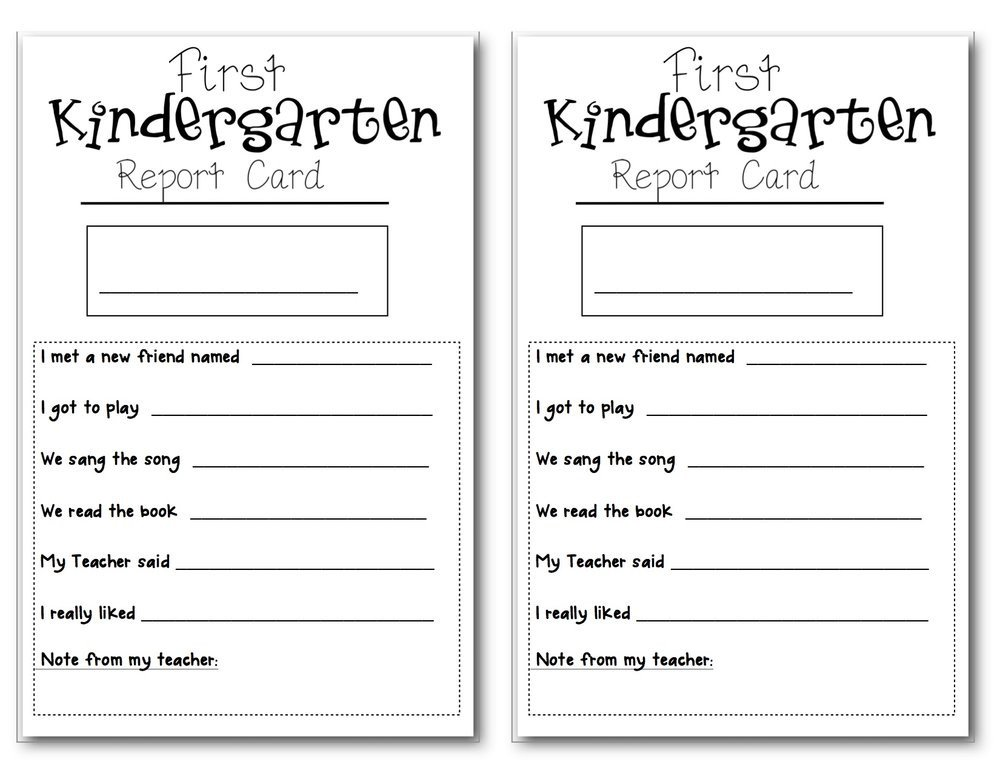 Kindergarten Report Card Template Preschool Report Card Horneforsfo