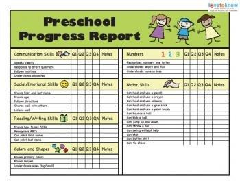 Kindergarten Report Card Template Printable Preschool Progress Reports
