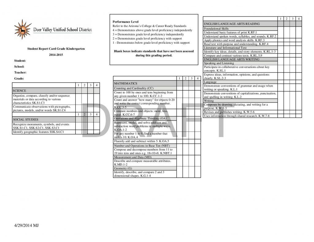 Kindergarten Report Card Template Report Card Template 33 Free Word Excel Documents