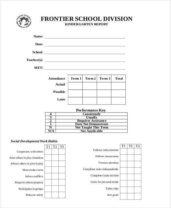 Kindergarten Report Card Template Sample Report Card 5 Documents In Pdf Word