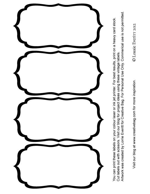 Labels for Jars Template Black and White Blank Label Templates Labels