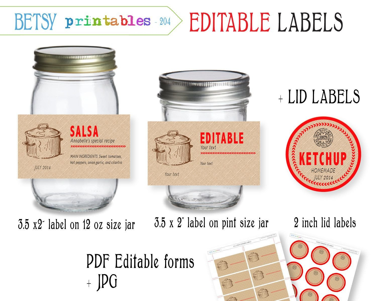 Labels for Jars Template Digital Canning Labels Labels for Canning by