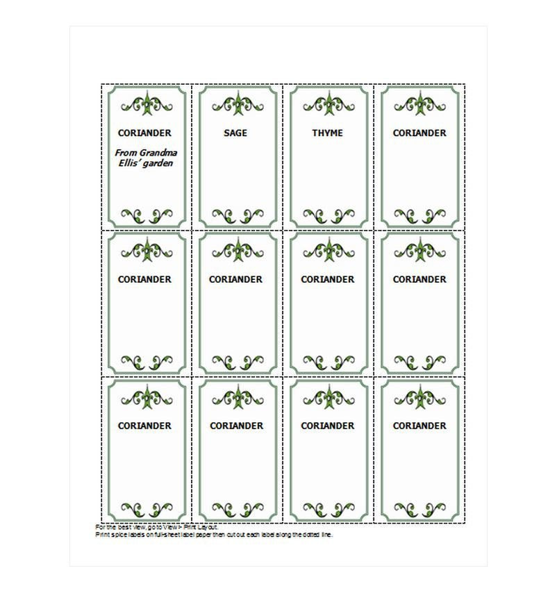 Labels for Jars Template Spice Jar Labels