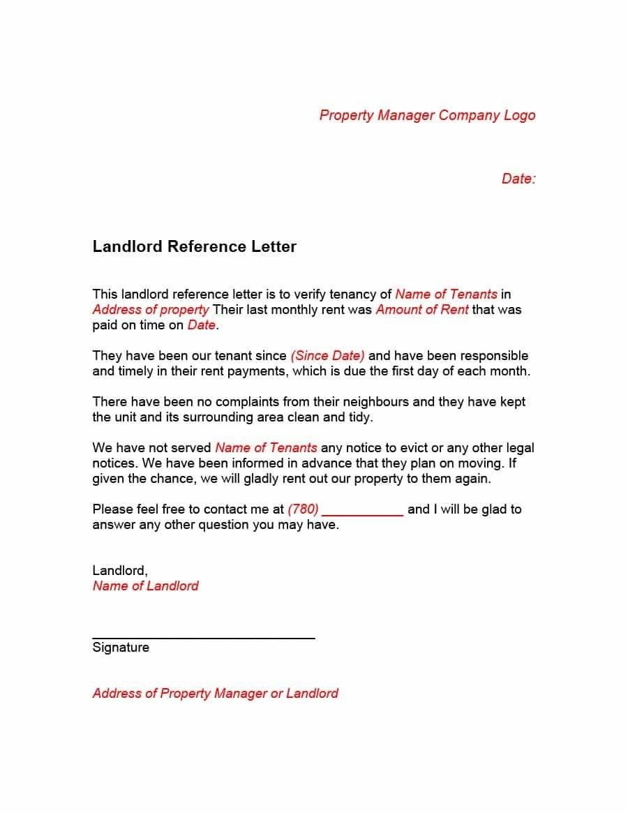 Landlord Letter Of Recommendation 40 Landlord Reference Letters & form Samples Template Lab