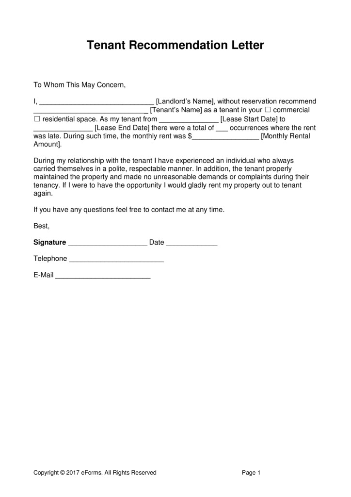 Landlord Letter Of Recommendation Landlord Reference Letter