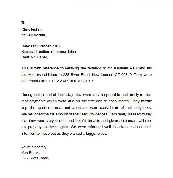 Landlord Letter Of Recommendation Landlord Reference Letter Template 10 Samples