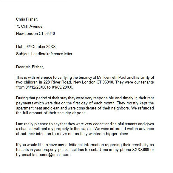 Landlord Letter Of Recommendation Landlord Reference Letter Template 8 Download Free