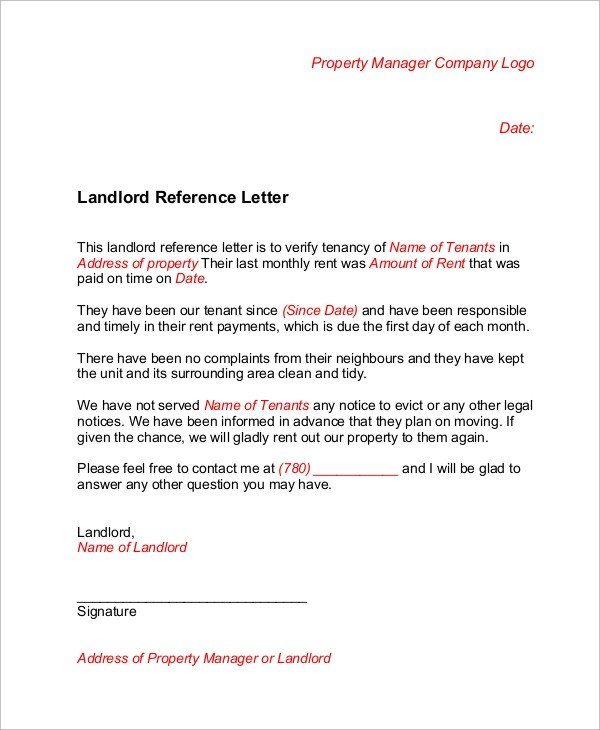 Landlord Letter Of Recommendation Sample Landlord Reference Letter 6 Examples In Word Pdf