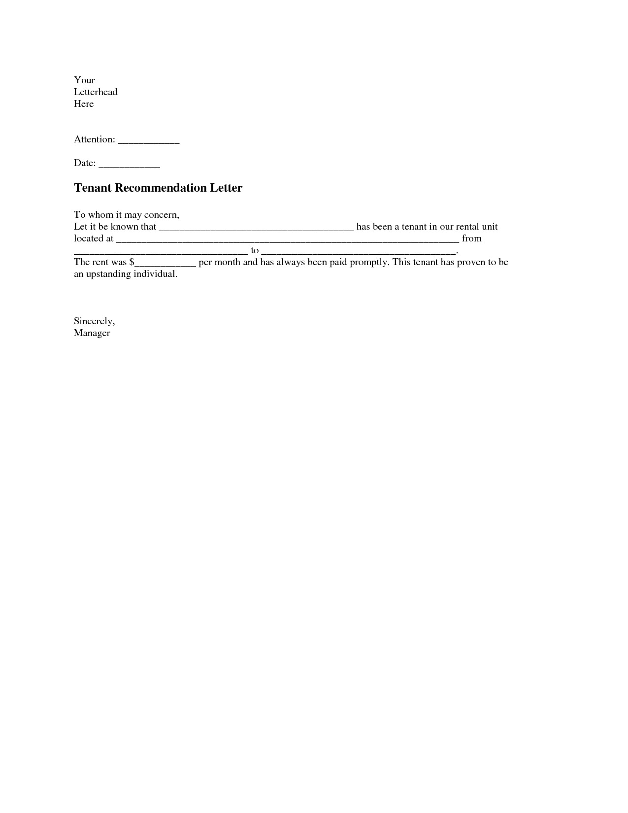 Landlord Letter Of Recommendation Tenant Re Mendation Letter A Tenant Re Mendation