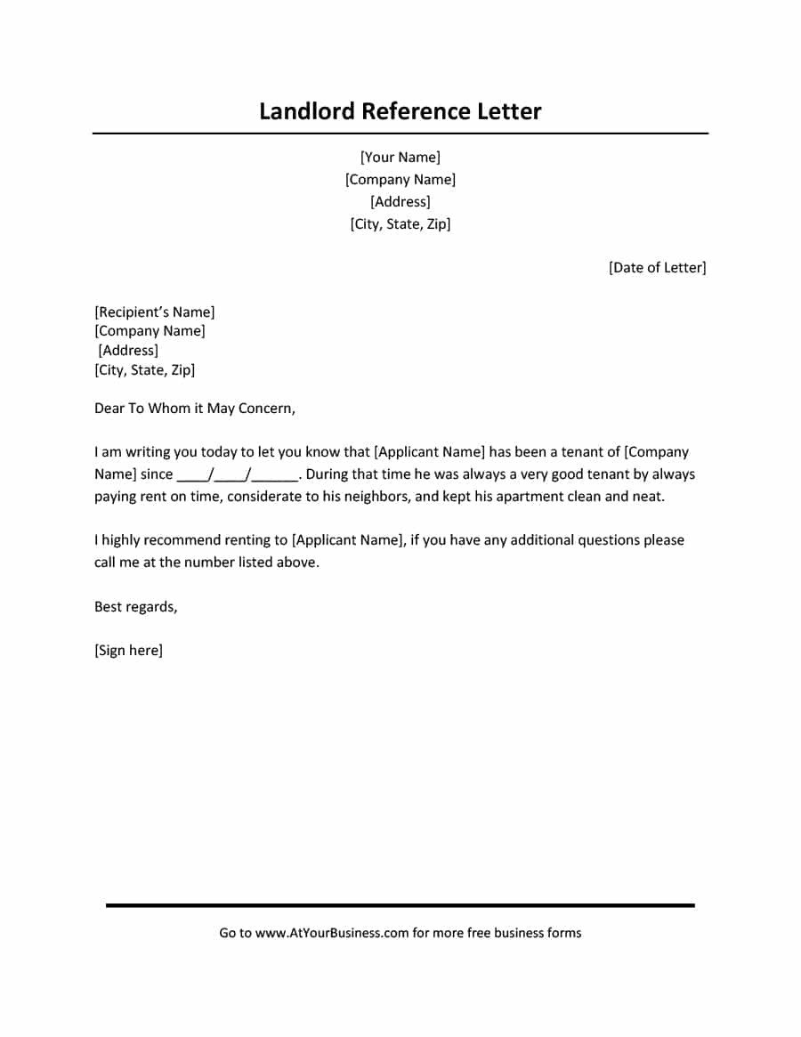 Landlord Reference Letter Sample 40 Landlord Reference Letters & form Samples Template Lab