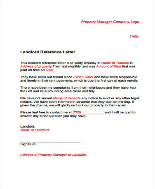 Landlord Reference Letter Sample Sample Rental Reference Letter 8 Examples In Pdf Word