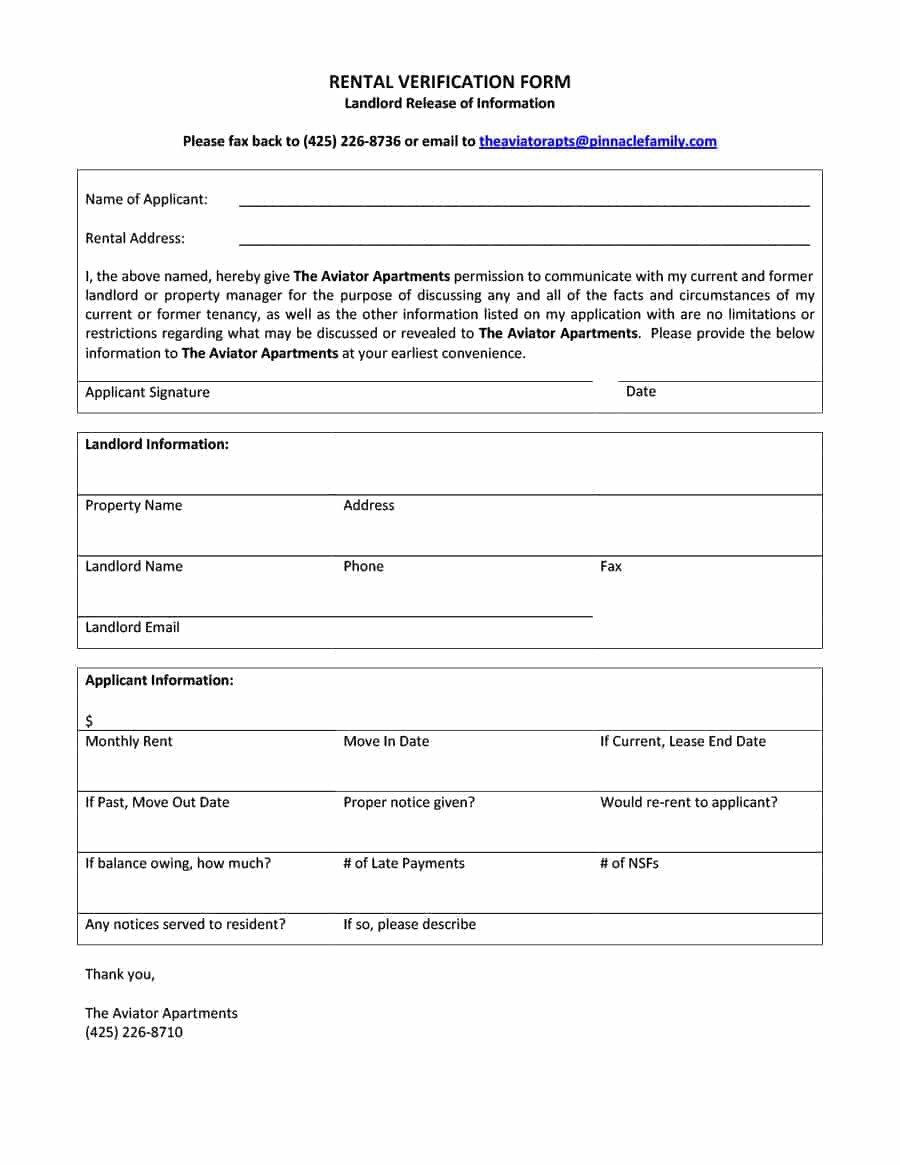 Landlord Verification form Template 29 Rental Verification forms for Landlord or Tenant