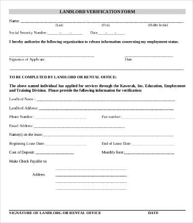 Landlord Verification form Template Employment Verification form Template 5 Free Pdf