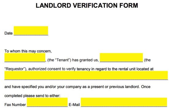 Landlord Verification form Template Free Rent Landlord Verification form Pdf