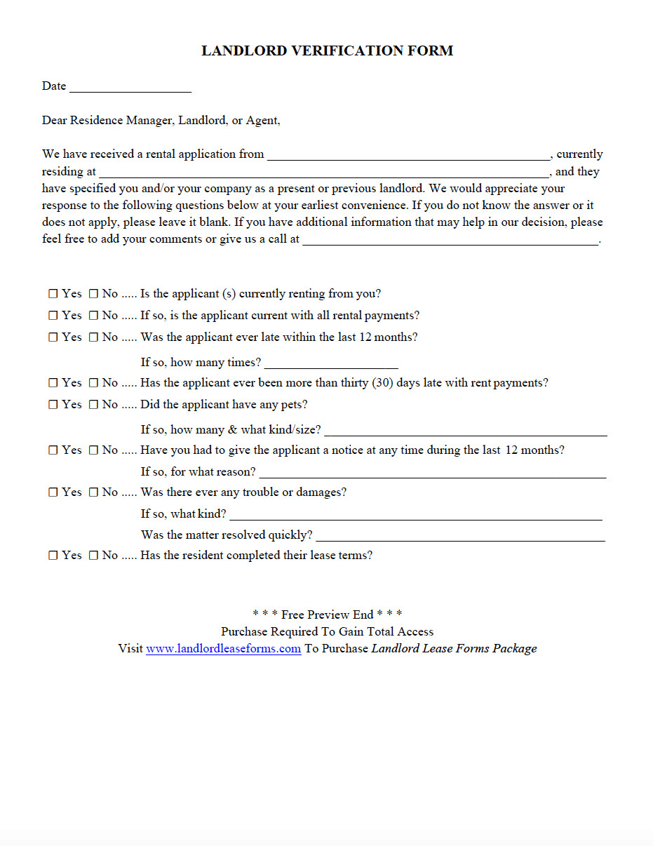 Landlord Verification form Template Landlord Lease forms Residential Lease Agreements